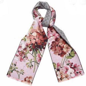 Gucci Pink Floral Monogram Wool Blooms Scarf